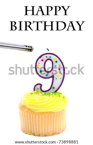a generic yellow frosted cupcake with a birthday candle isolated on white with room for your text