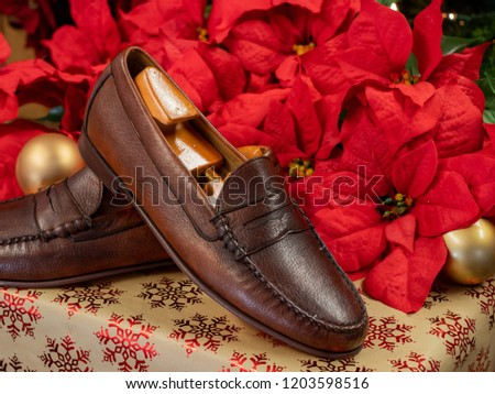 A genuine deer skin leather pair of shoes, with a shoe tree inside each one. The luxurious footwear accessories are on a gift for a holiday themed picture.