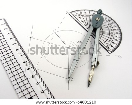 A geometry image with geometrical diagram & utensils