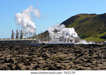 A geothermal power station steams on a cold day in Iceland