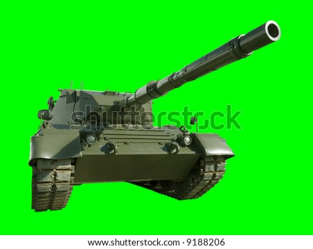 A German-built Leopard main battle tank set on a green background for easy isolation. (The JPEG file also includes a clipping path to isolate the tank.)