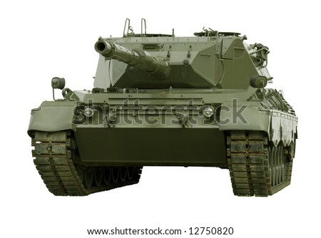 A German-built Leopard main battle tank set on a white background for easy isolation. (The JPEG file also includes a clipping path to isolate the tank.)