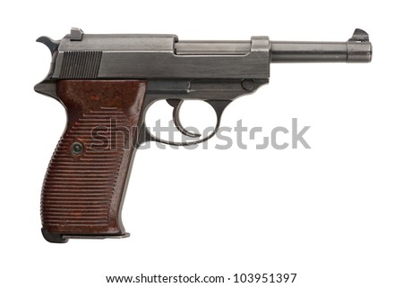 A German 9mm semi-automatic military pistol from World War Two.