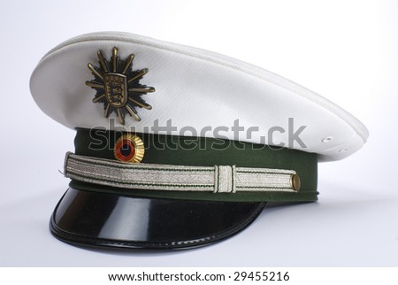 a German police hat, against a white background