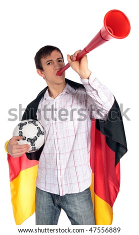 A german soccer fan. All isolated on white background.