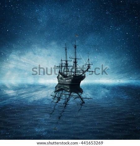A ghost pirate ship floating on a cold dark blue sea landscape with a starry night sky background and water reflection.