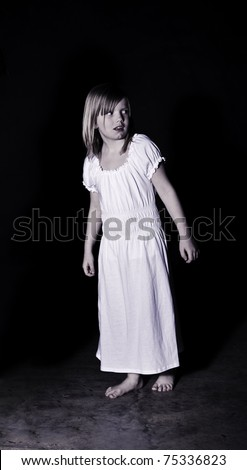 A ghostly looking girl wearing a white night gown