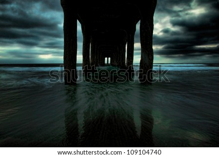 A ghostly version of the Manhattan Beach Pier in Los Angeles, California.