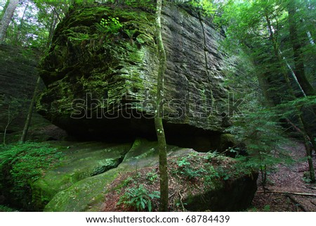 A giant boulder sits firmly in a canyon of northern Alabama.