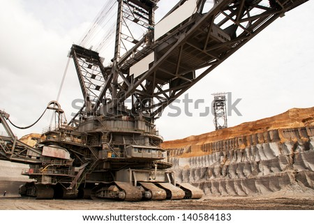 A giant bucket wheel excavator digging lignite (brown-coal) in an open-cast mine