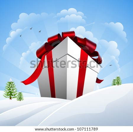 A giant Christmas present in the snow. Concept for a huge Christmas sale.