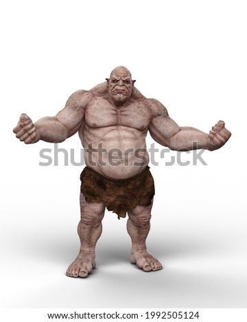 A giant ogre fantasy creature standing wearing loin cloth and waving fists. 3D illustration isolated on a white background. Stock photo ©
