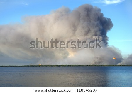 A giant wildfire in the west of France