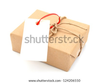 A gift box with tag