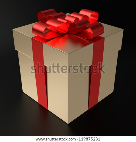 A gilt gift box with metallized red ribbon on black background. Computer generated image with clipping path.