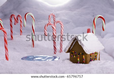 A ginger bread cottage near a candy pond in a snowy candy cane forest