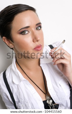 A Girl against white smoking