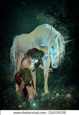 a girl and a unicorn watching fireflies at a pond