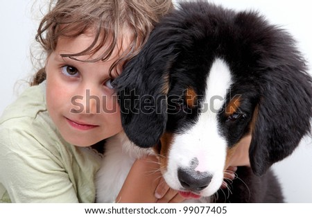 a girl and dog