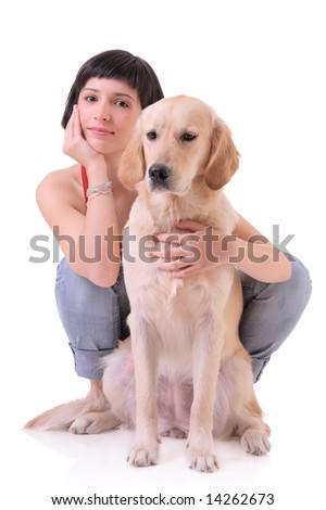 A girl and her dog (Labrador retriever) - stock photo
