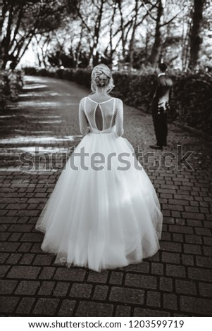 A girl dressed in a wedding dress on the background of nature. Black and white picture.