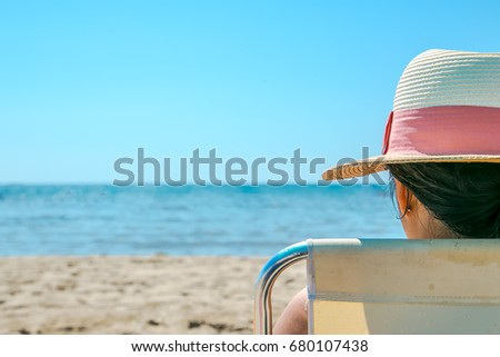 a girl enjoying on summer holidays - Shutterstock ID 680107438