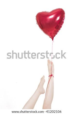 a girl fallen in love and flies away upwards