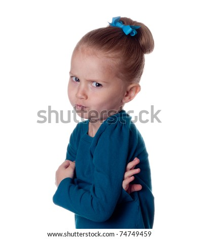 A girl gives a weird look. Image is isolated on white.