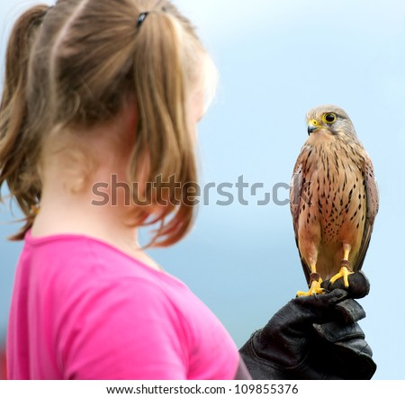 a girl holding a hawk