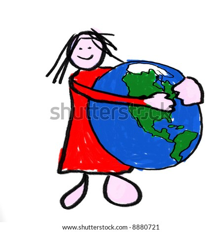 A girl holding the globe - a childlike drawing