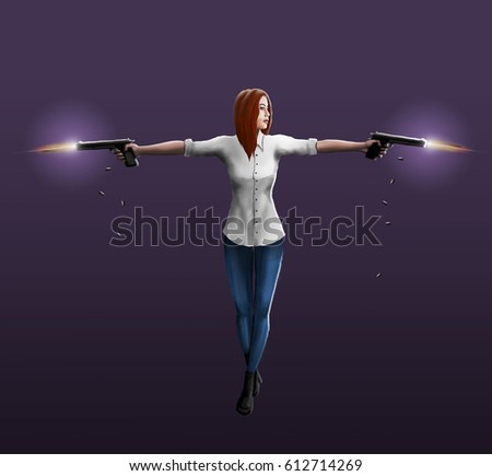 Stock Photo A girl in a white shirt shoots out two pistols