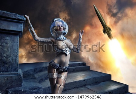 a girl in an unusual space suit and a rocket flying into the sky