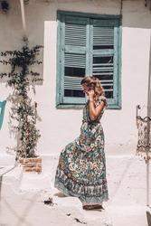A girl in the cozy Greek streets of Zakynthos