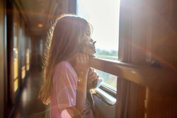 A girl is riding in a compartment carriage with a kitten. Traveling with animals by train. A child with a cat looks out the window on a train