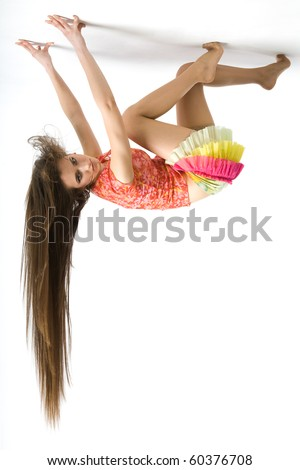 a girl on the ceiling