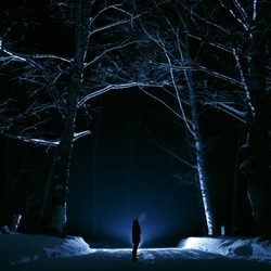 A girl or a guy in the woods one night. Forest winter dark and gloomy. The picture was taken with backlighting and blue. for banner Halloween or esoteric, gothic. Romania
