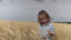 A girl playing in a wheat field