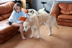 A girl reads a book with a dog in the living room