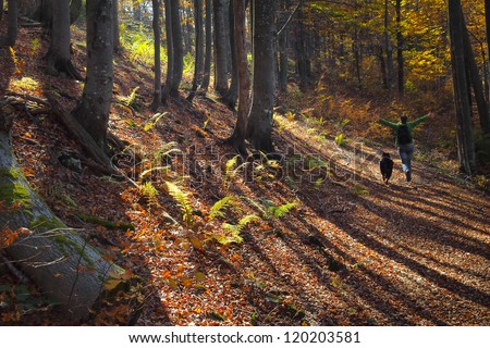 A girl running with joy in colorful autumn forest in the mountains