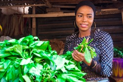 a girl selling vegetables at a typical local african market