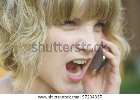 A girl shouting on a phone