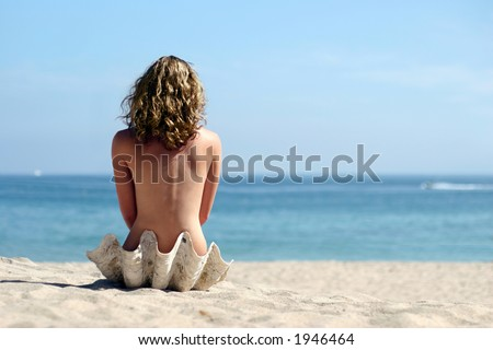 A girl sitting in sea shell on the beach