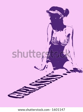 a girl, sitting on a inscription #1601147