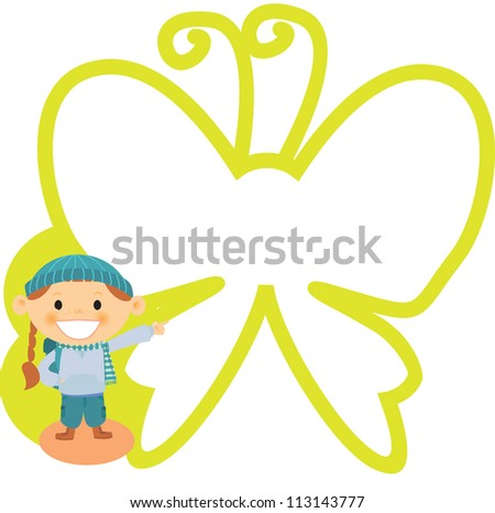 A girl standing near an outline of a large butterfly