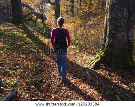 A girl walking in colorful autumn forest high in the mountains