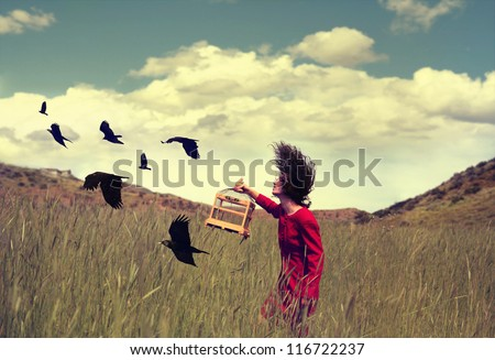 a girl walking through a field with a flock of ravens or crows toned with a retro vintage instagram filter effect action app