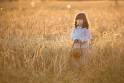 a girl walks in a wheat field, a girl walks in a field at sunset