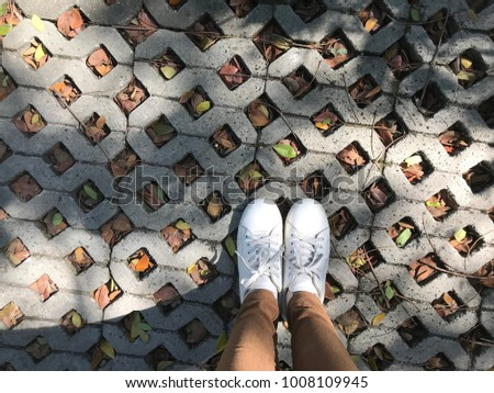 A girl wear white sneakers stand on rhombus square brick block with leaf fall on the ground. street fashion concept. #1008109945