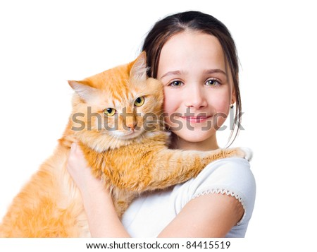 A girl with a big red cat in her arms