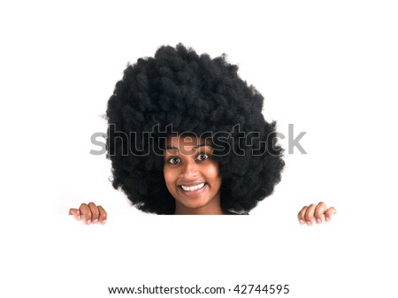 A girl with a funny haircut over white background